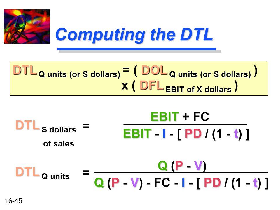 Q (P - V) - FC - I - [ PD / (1 - t) ]